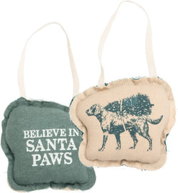 Believe in Santa Paws Fabric Ornament - Bohemian Trading Post
