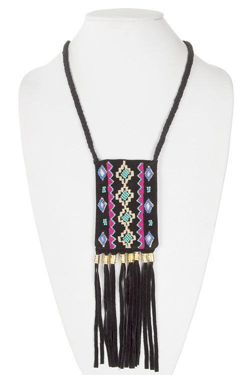 Festival Fringed Pouch Necklace