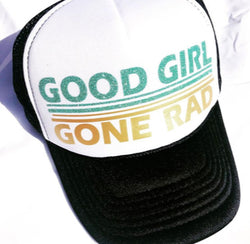 Good Girl Gone Rad Trucker Hat - Green - Bohemian Trading Post