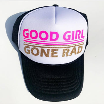 Good Girl Gone Rad Trucker Hat - Pink - Bohemian Trading Post