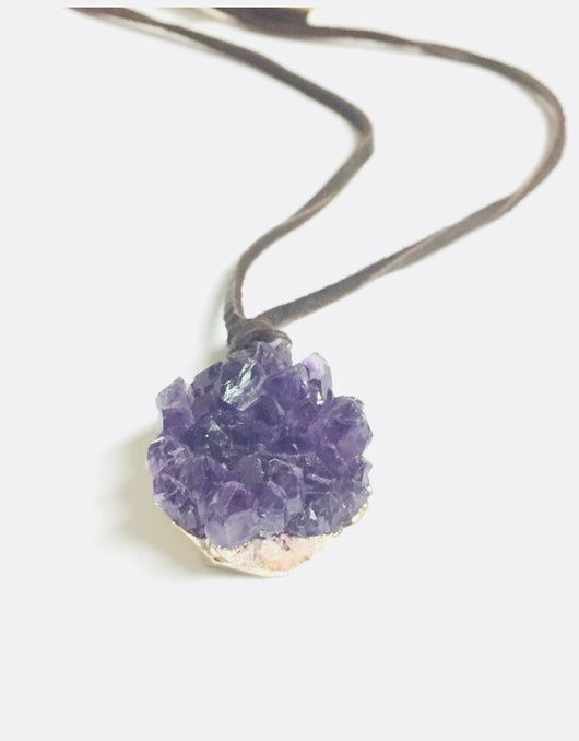 Amethyst Cluster Necklace - Bohemian Trading Post
