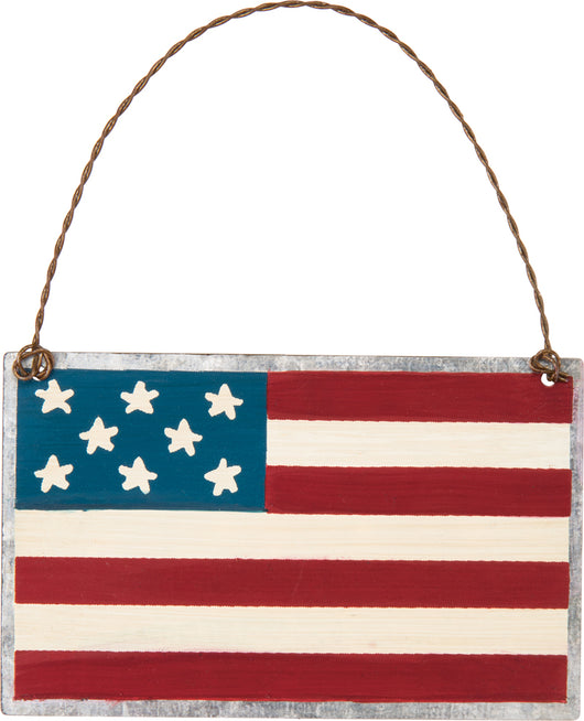 American Flag Tin Ornament - Bohemian Trading Post