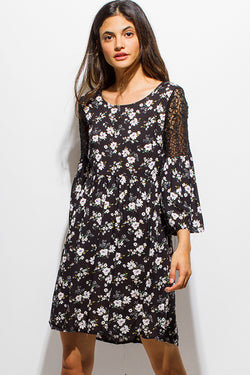 Floral + Lace Boho Mini Dress - Bohemian Trading Post