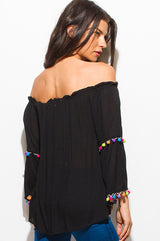 Festival Off-The-Shoulder Pom Pom Top - Bohemian Trading Post
