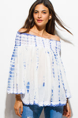 Lace Off-The-Shoulder Tie Dye Boho Top + Blue - Bohemian Trading Post