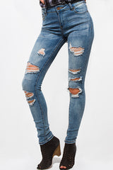 Denim Mid-Rise Destroyed Skinny Jeans + Blue Washed - Bohemian Trading Post