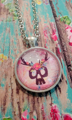 Floral Deer Skull Pendant Necklace - Bohemian Trading Post