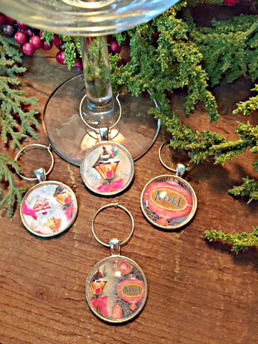 Vintage Christmas I Wine Glass Charms - Set of 4 - Bohemian Trading Post