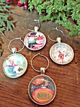 Vintage Christmas II Wine Glass Charms - Set of 4 - Bohemian Trading Post
