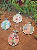 Vintage Christmas III Wine Glass Charms - Set of 4 - Bohemian Trading Post