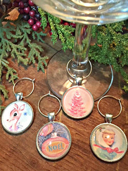 Vintage Christmas IV Wine Glass Charms - Set of 4 - Bohemian Trading Post