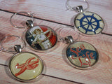 "Vintage Style ""Sea Life"" Wine Glass Charms - Set of 4"