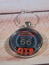 Route 66 + Roadside Wine Glass Charms - Set of 4 - Bohemian Trading Post