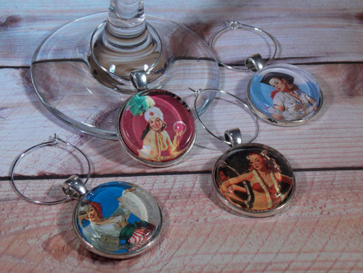 Pin-Up Girls Wine Glass Charms - Set of 4 - Bohemian Trading Post
