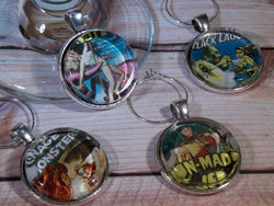 Vintage Creep Show Movie Poster Wine Glass Charms - Set of 4 - Bohemian Trading Post