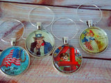 Vintage Style 4th of July / Patriotic Wine Glass Charms - Set of 4