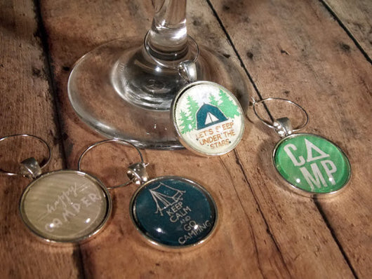 Camping Wine Glass Charms - Set of 4