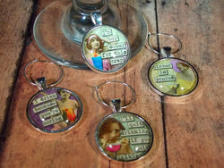 Snarky Drinkin' Women Wine Glass Charms - Set of 4 - Bohemian Trading Post