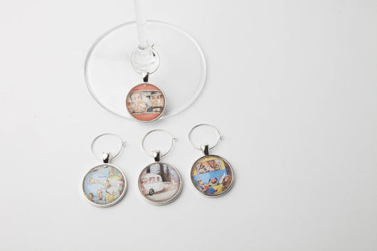 Retro Family Vacation Wine Glass Charms - Set of 4 - Bohemian Trading Post