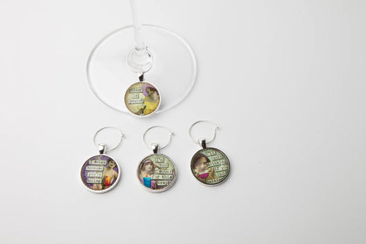 Snarky Women II Wine Glass Charms - Set of 4 - Bohemian Trading Post