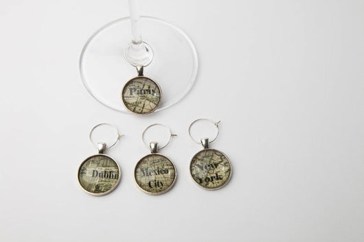 Cities of the World Wine Glass Charms - Set of 4 - Bohemian Trading Post