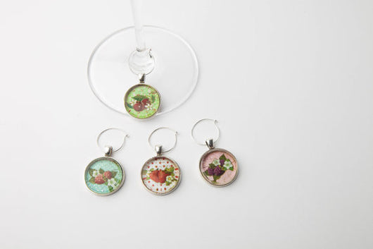 Summer Fruit Wine Glass Charms - Set of 4 - Bohemian Trading Post