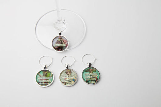 Snarky Women Wine Glass Charms - Set of 4 - Bohemian Trading Post