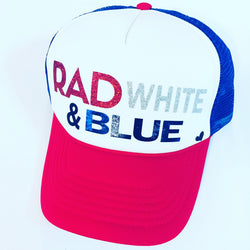 Rad, White & Blue Trucker Hat - Bohemian Trading Post