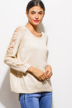 Eve Scoop Neck Distressed Sweater
