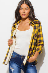 Goldie Plaid Fleece Lined Flannel Top - Bohemian Trading Post