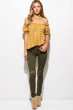 Denim Mid-Rise Distressed Skinny Jeans + Olive Green