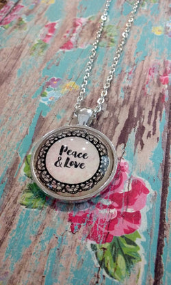 Peace + Love Pendant Necklace - Bohemian Trading Post