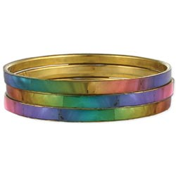 Rainbow Shell Bangle Bracelet - Set of 3 - Bohemian Trading Post