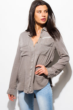 Stone Gray Mineral Acid Wash Boho Top