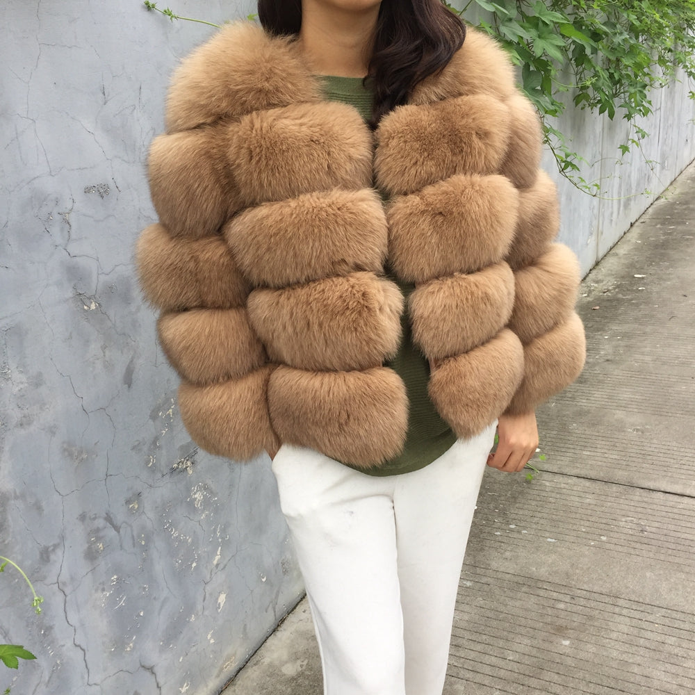 Luxury Camel Cropped Fox Fur Coat