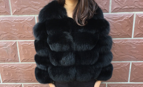 Luxury Black Cropped Fox Fur Coat