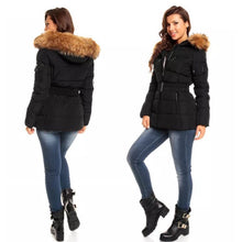 An image of a model wearing the Black Attentif Paris Parka Jacket. Showing the view of back and front of the coat against a white background