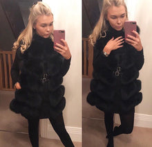 Luxury Medium Black Fox Fur Gilet