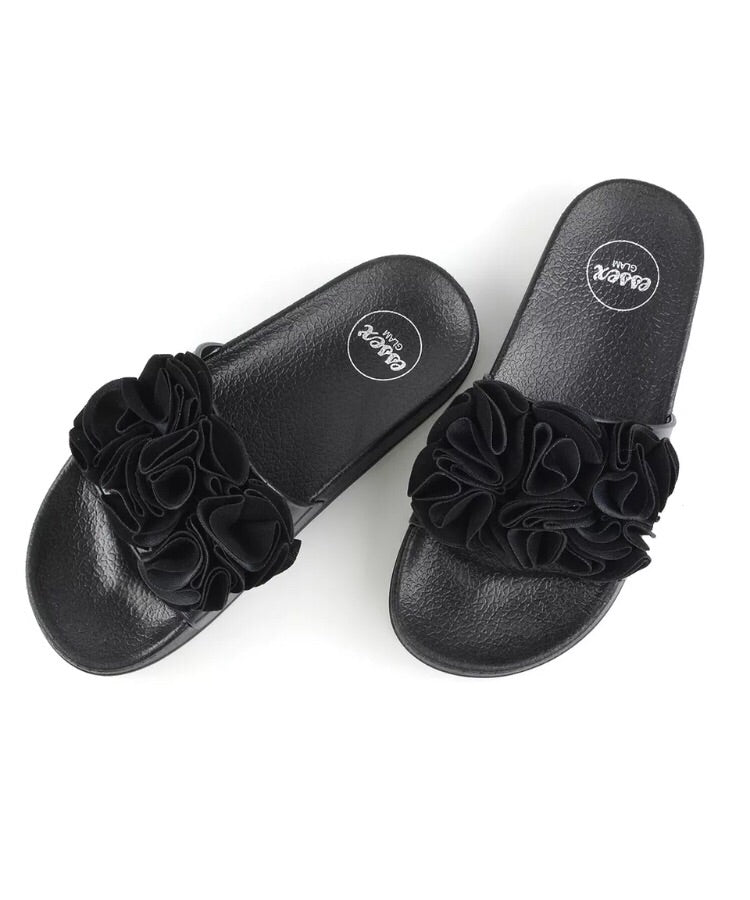 Black Ruffle Sliders