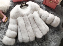 Luxury Natural White Straight Lined Fox Fur Cropped Coat
