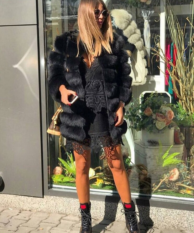 Luxury 9 Row Fox Fur Coat