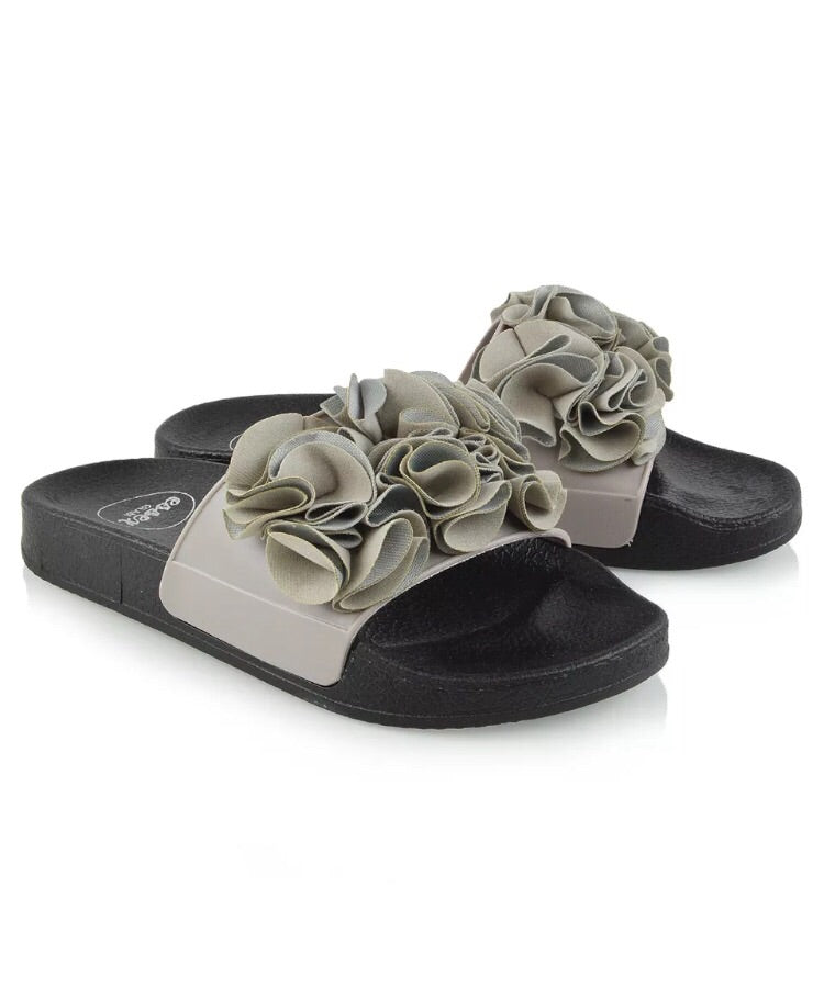 Grey Ruffle Sliders