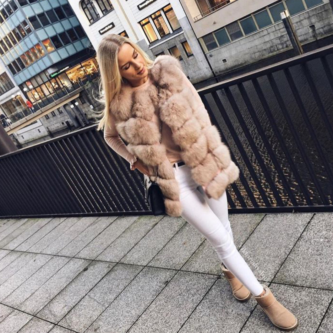 Beige Fox Fur Gilet