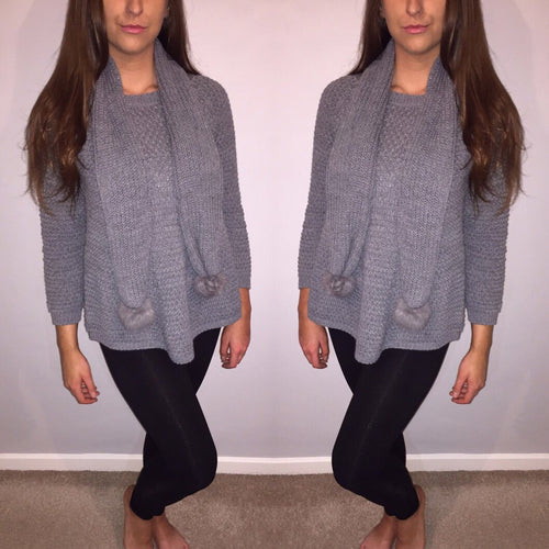 Elle Grey Winter Knit Jumper