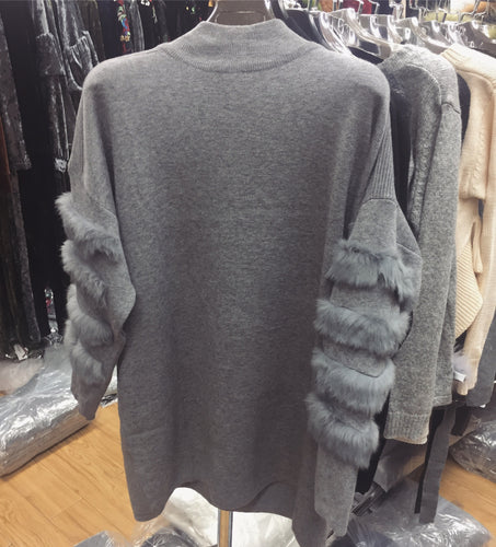 Grey Opal Fur Sleeved Jumper