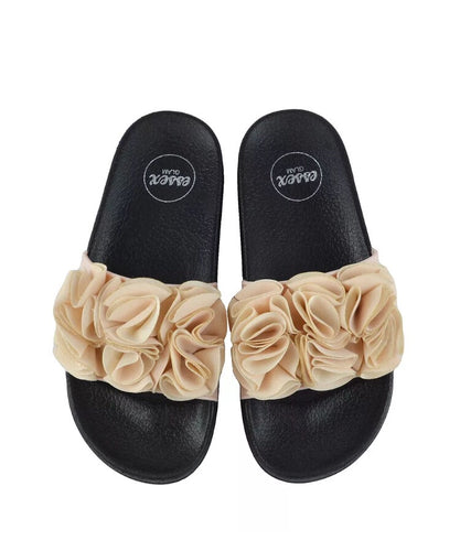 Nude Ruffle Sliders