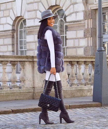 Dark Grey Medium Fox Fur Gilet