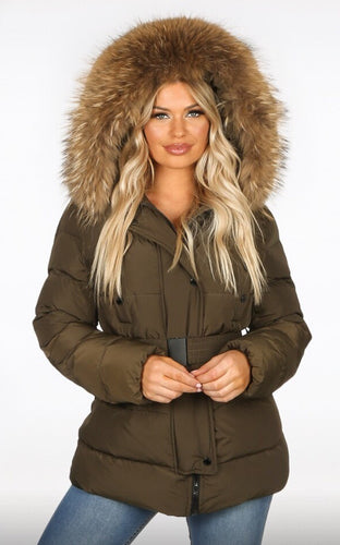 New Style Attentif Paris Khaki Quilted Parka Jacket