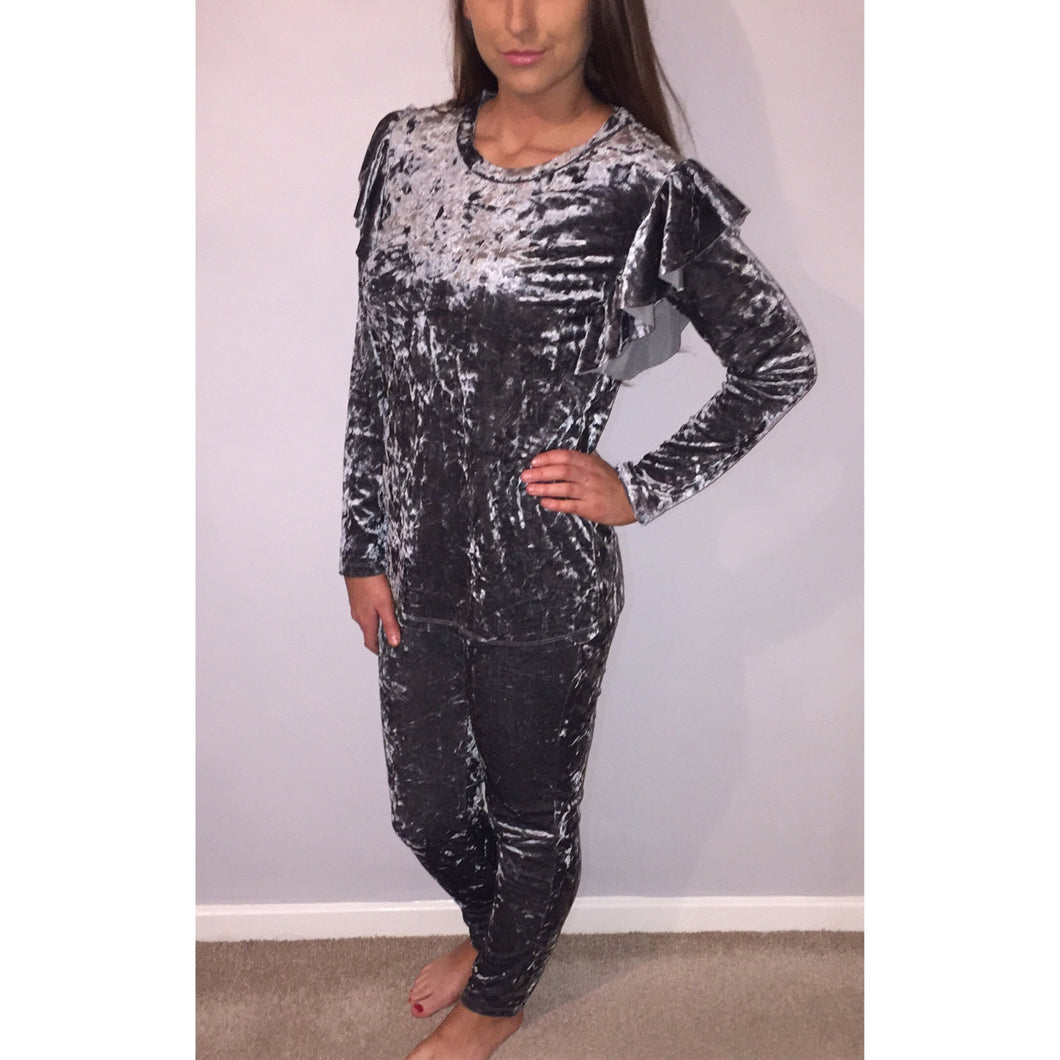 Grey Frill shoulder Crushed Velvet Tracksuit