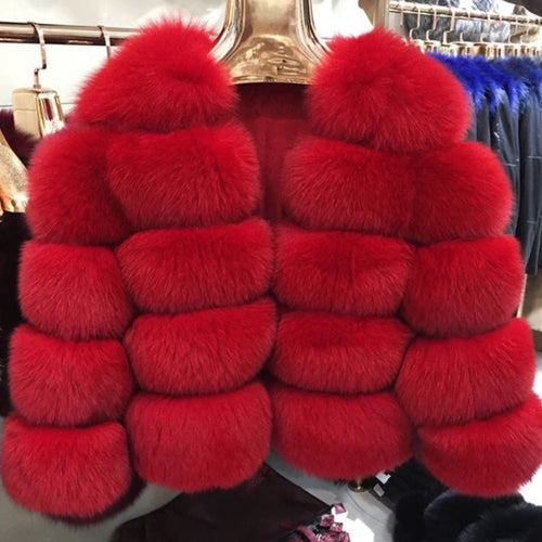 Luxury Red Cropped Fox Fur Coat
